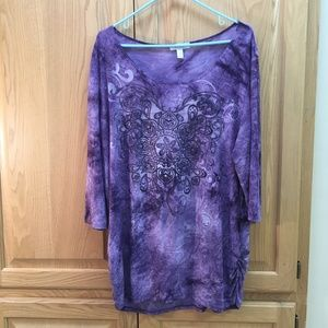 Dressbarn purple 3/4 length sleeve shirt